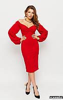 Красивое красное платье футляр с открытыми плечами