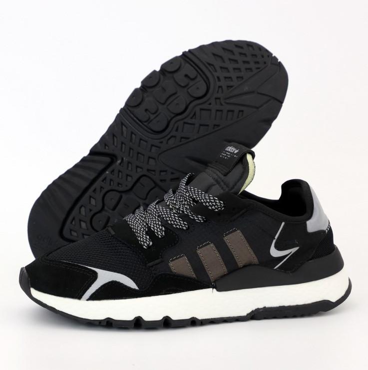 Мужские кроссовки Adidas Nite Jogger black white. Живое фото (Реплика ААА+)