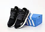 Мужские кроссовки Adidas Nite Jogger black white. Живое фото (Реплика ААА+), фото 4