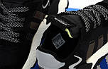 Мужские кроссовки Adidas Nite Jogger black white. Живое фото (Реплика ААА+), фото 8