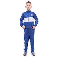 Костюм спортивный детский клубный CHELSEA, полиэстер, флис, р-р 26-32, синий (LD-6131K-CH1)
