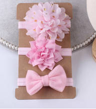 Набор светло-розовых повязок - 3шт., размер универсальный (на резинке)