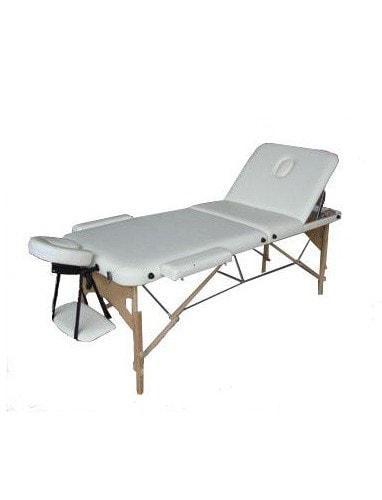 Масажний стіл 3-х секційний (дерев. рама) бежевий HY-30110B