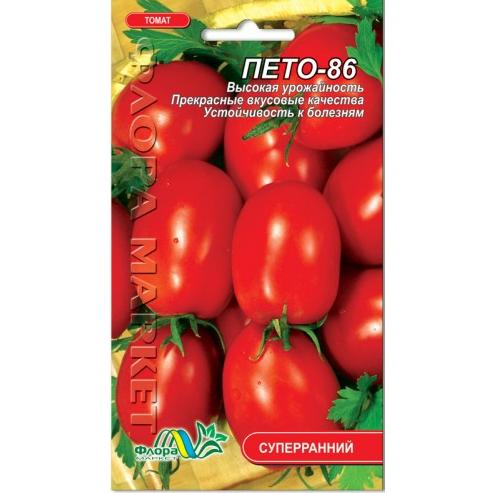 Томат Пето 86 овальний, червоний ранній, низькорослий, насіння 0.1 г