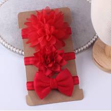 Набор красных повязок - 3шт., размер универсальный (на резинке)