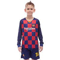 Форма футбольная с длинным рукавом детская BARCELONA MESSI 10, р-р 22-30, рост 110-165см., синий (CO-1679), фото 1