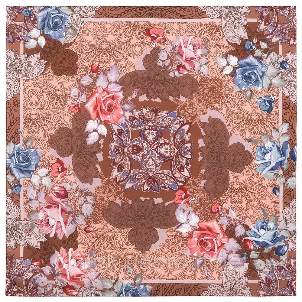 10438-16, павлопосадский платок из вискозы с подрубкой 80х80