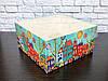 Коробка для капкейков на 4 шт. 160Х160Х80 мм. с прозрачной крышкой, Домики