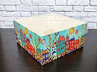 Коробка для капкейков на 4 шт. 160Х160Х80 мм. с прозрачной крышкой, Домики, фото 1