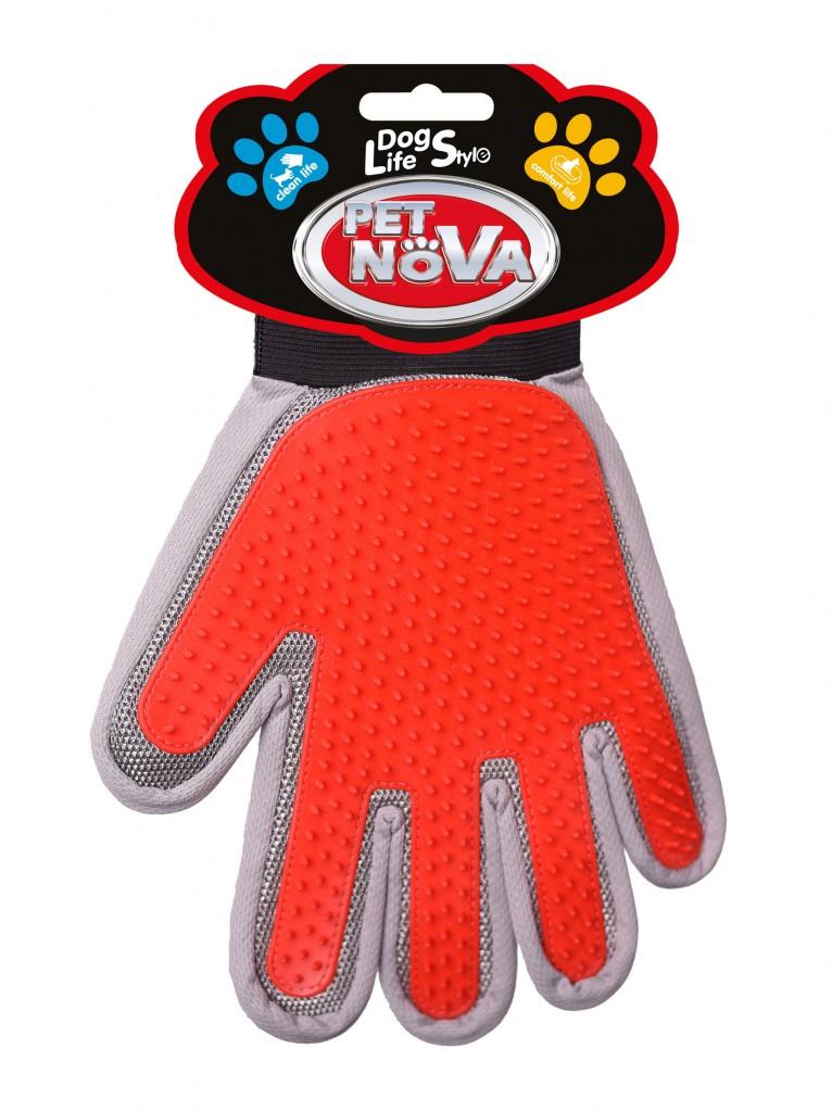 Двухсторонняя перчатка для вычесывания шерсти Pet Nova 2в1, (правая рука)
