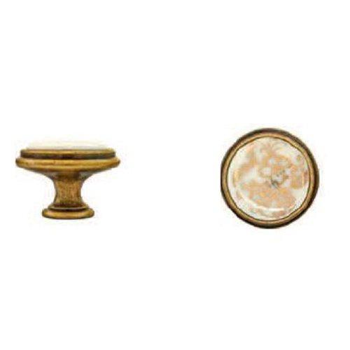 Ручка-кнопка римское золото/фарфор d35х27мм GIUSTI