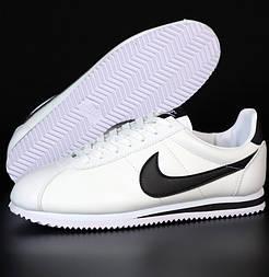 Мужские кроссовки Nike Cortez белые с черным осень-весна. Живое фото. Реплика. Чоловічі кроссівки