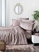 Комплект постельного белья Ecosse VIP сатин жаккард 200х220 Damask Kahve бежевое