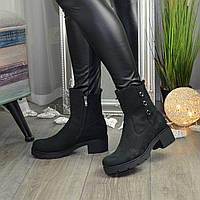 Ботинки женские на устойчивом широком каблуке, натуральная кожа нубук черного цвета