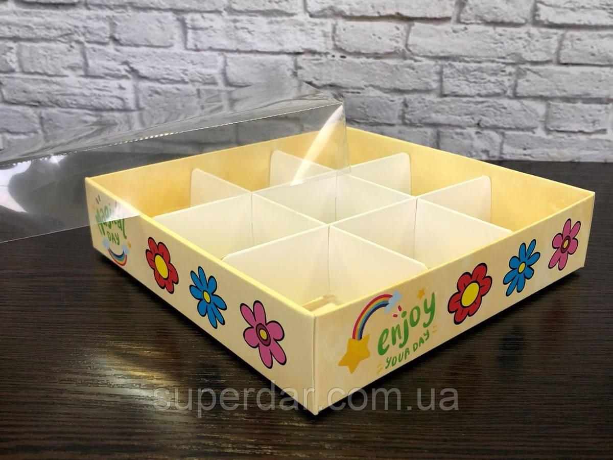 Коробка для 9 конфет со вставкой  160Х160Х35 мм. с прозрачной крышкой, Цветочки