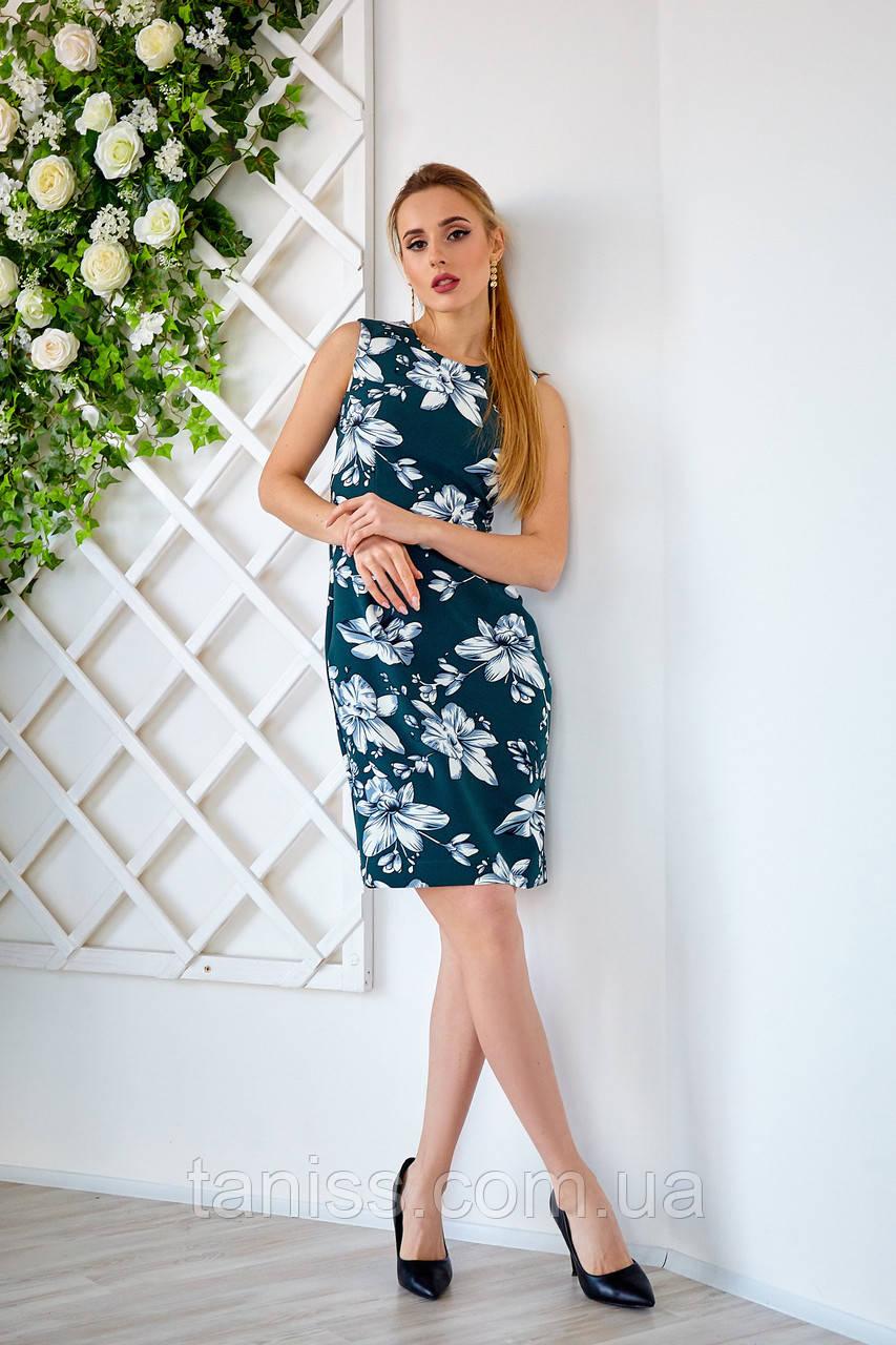 Женское,офисное платье,без рукавов, ткань креп костюмный,размеры 42,44,46,48,50 ( 1227.1)бутылочный, сукня