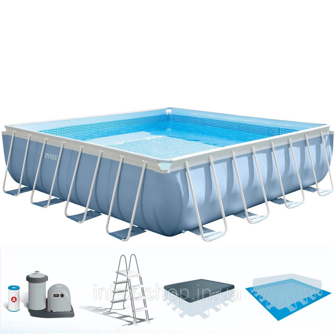 Каркасний басейн Intex 26798, ( 488х488х122 см) (Картріджний фільтр 5678 л/год, тент, підстилка, сходи)