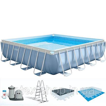 Каркасний басейн Intex 26798, ( 488х488х122 см) (Картріджний фільтр 5678 л/год, тент, підстилка, сходи), фото 2