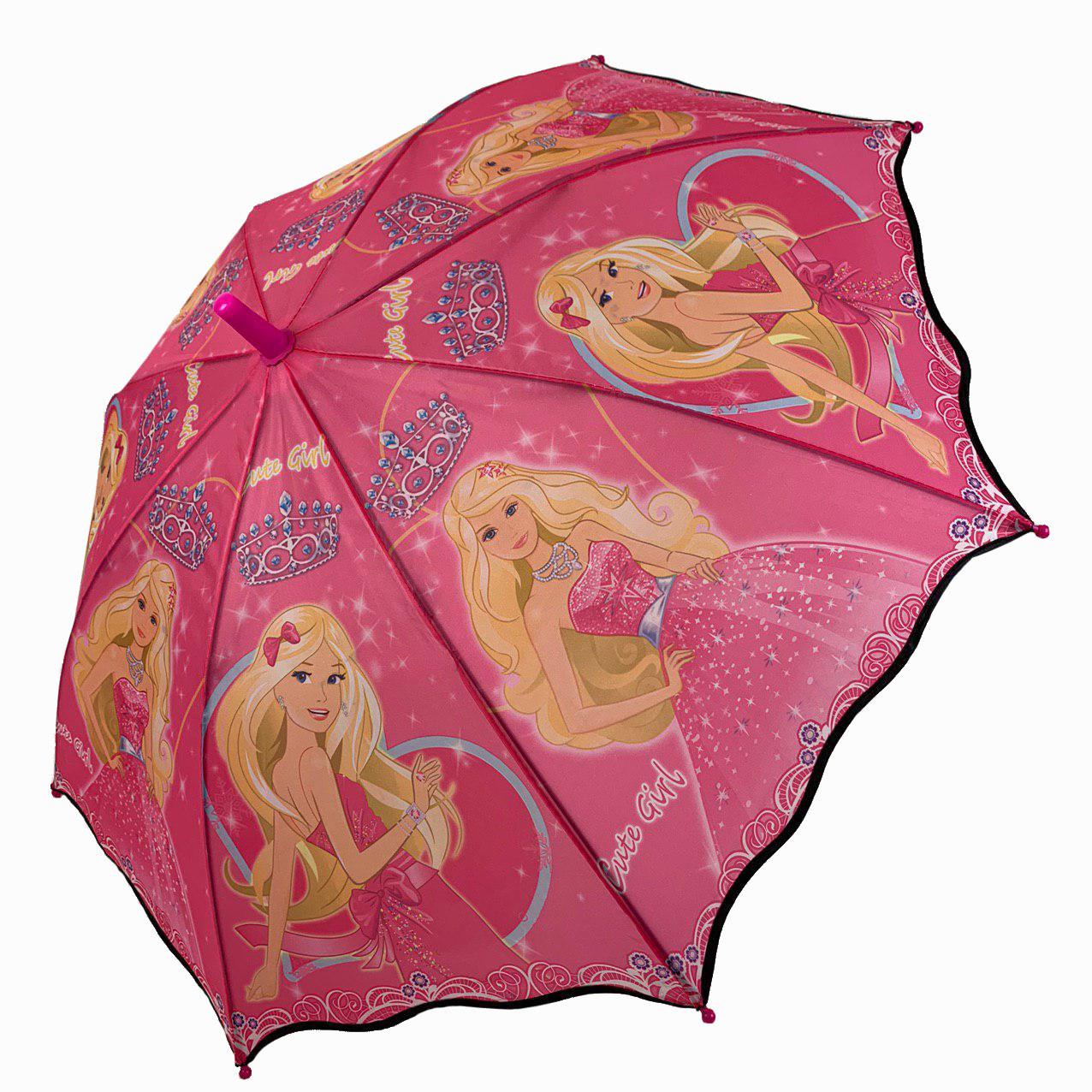 Яркий детский зонт трость, Flagman с Барби, малиновый, 601А-5