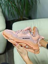 Женские кроссовки в стиле Balenciaga Triple S розовые, фото 2