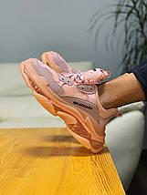 Женские кроссовки в стиле Balenciaga Triple S розовые, фото 3