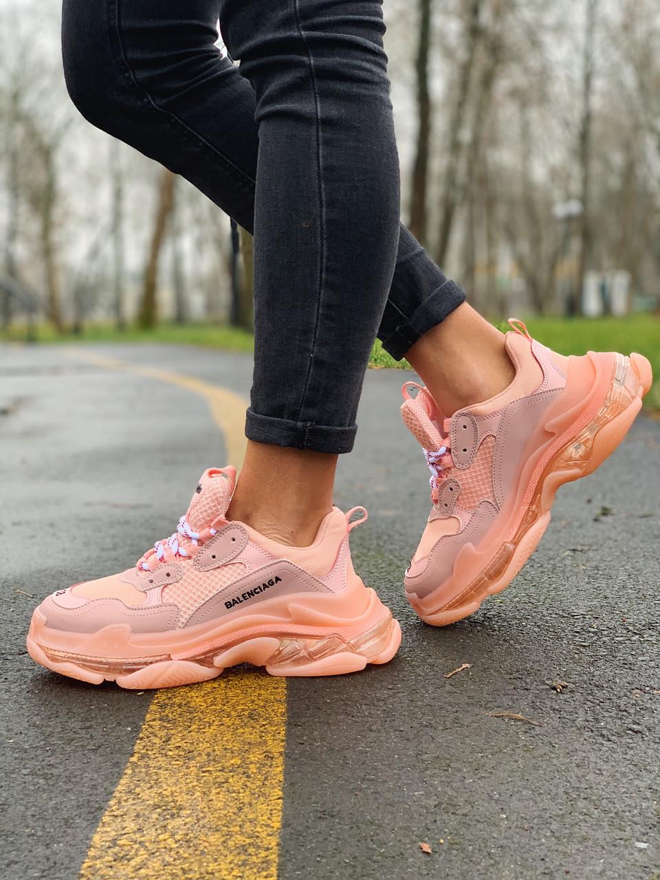 Женские кроссовки в стиле Balenciaga Triple S розовые