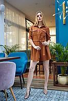 Женское, стильное, офисное платье, длина мини, ткань замш, размеры 42,44,46,48,50 (1228.1)коричневый, сукня