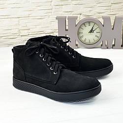Чоловічі черевики на шнурівці, натуральна шкіра нубук чорного кольору