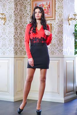 Платье с кружевом на талии КРИСТИ красный