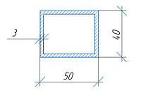 Труба алюминиевая АД31, прямоугольный профиль, 40х50х3 мм, длина 1200 мм.