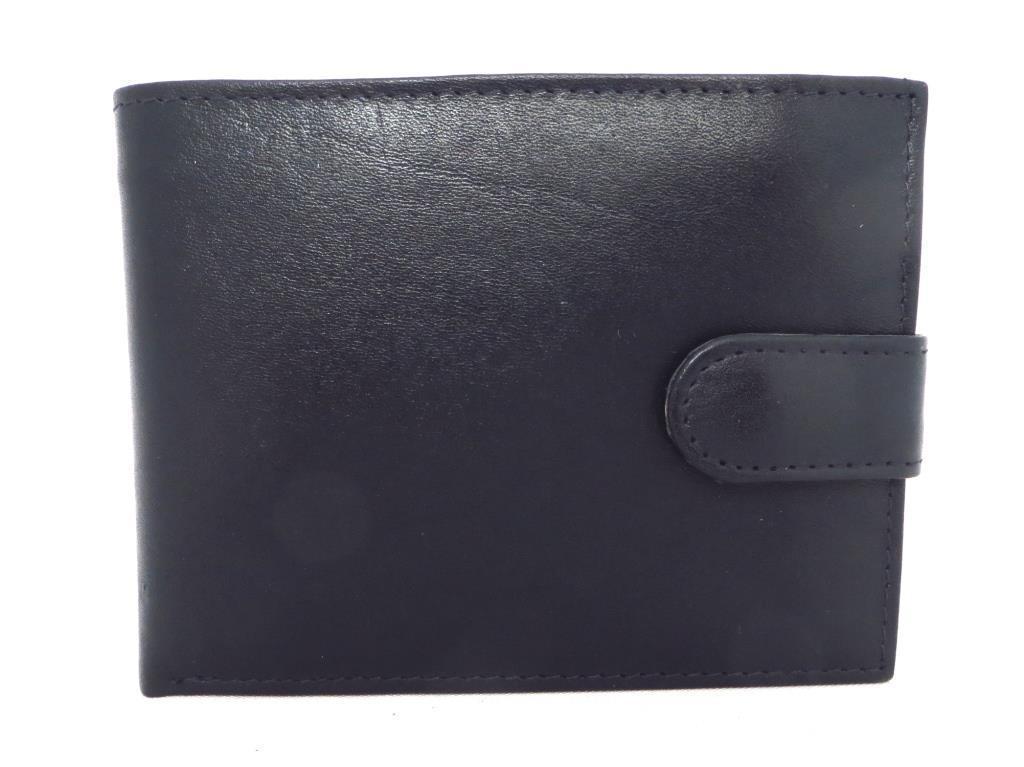 Чоловічий шкіряний гаманець (Італія) Темно синій