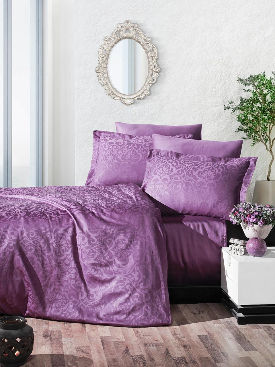 Комплект постельного белья Ecosse VIP сатин жаккард 200х220 Damask Murdum