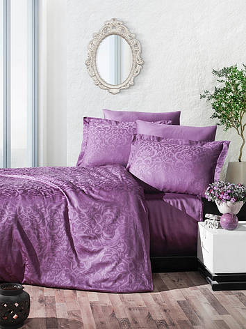 Комплект постельного белья Ecosse VIP сатин жаккард 200х220 Damask Murdum, фото 2