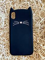 Силиконовый чехол Cat для iPhone X / XS, черный