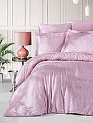 Комплект постельного белья Ecosse VIP сатин жаккард 200х220 Damask Pudra