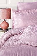Комплект постельного белья Ecosse VIP сатин жаккард 200х220 Damask Pudra, фото 2