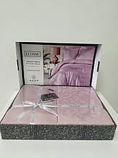 Комплект постільної білизни Ecosse VIP жаккард сатин 200х220 Damask Pudra, фото 3