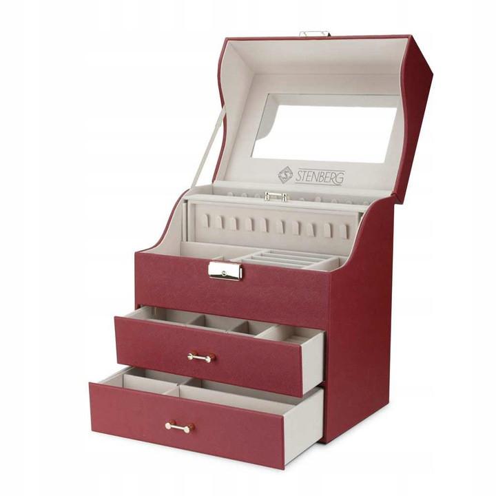 Шкатулка для украшений, органайзер для ювелирных украшений и часов STENBERG, бордо