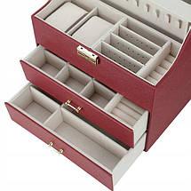 Шкатулка для украшений, органайзер для ювелирных украшений и часов STENBERG, бордо, фото 2