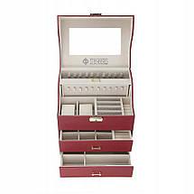 Шкатулка для украшений, органайзер для ювелирных украшений и часов STENBERG, бордо, фото 3
