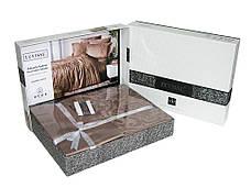 Комплект постельного белья Ecosse VIP сатин жаккард 200х220 Damask Kahve беж, фото 2