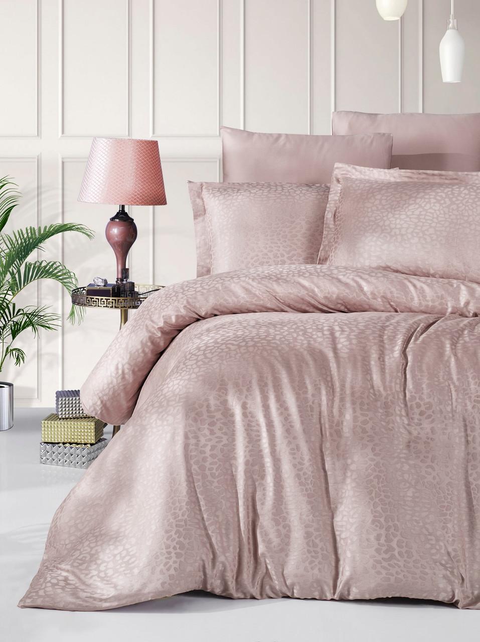 Комплект постельного белья Ecosse VIP сатин жаккард 200х220 Damask Kahve беж