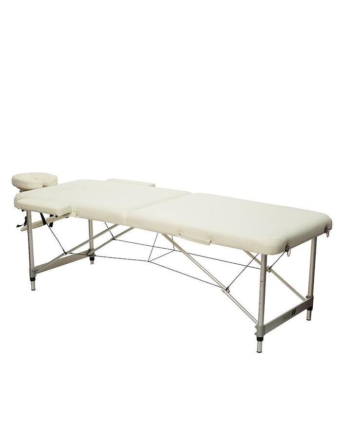 Массажный стол 2-х секционный (алюмин. рама) белый HY-2010-1.3