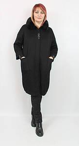 Турецкое женское пальто с мехом, больших размеров 52-64