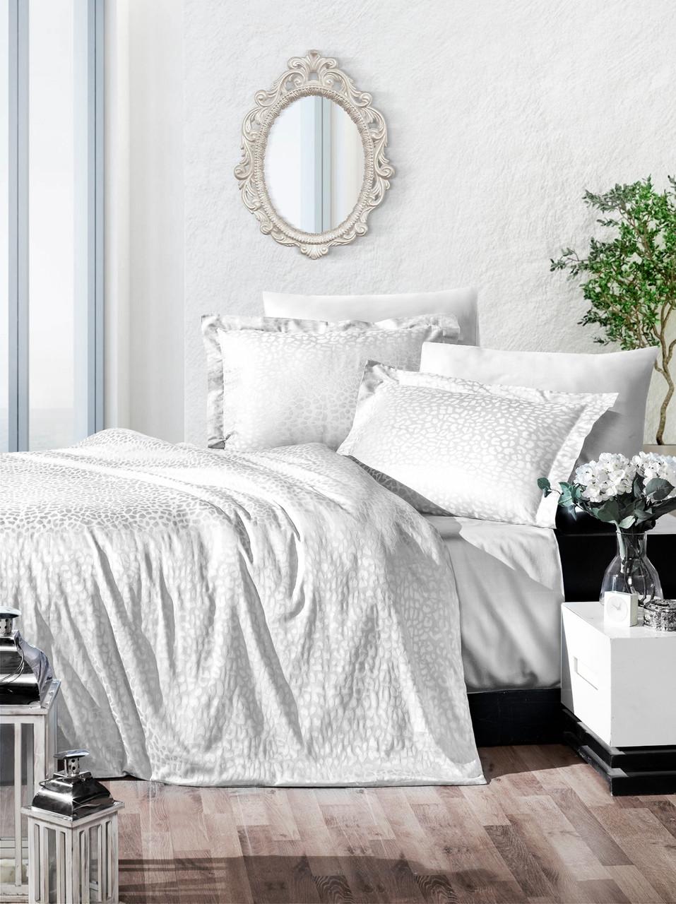 Комплект постельного белья Ecosse VIP сатин жаккард 200х220 Damask Beyaz
