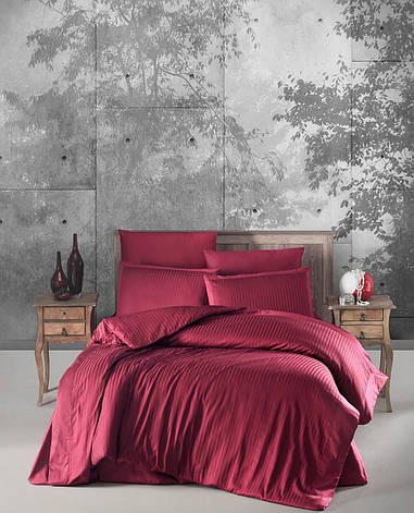 Комплект постельного белья Ecosse VIP сатин Stripe 200х220 бордо, фото 2