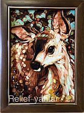 """Картина из янтаря """" Олененок Бемби """" Картина з бурштина  """" Оленя Бембі """" 30x40 см"""