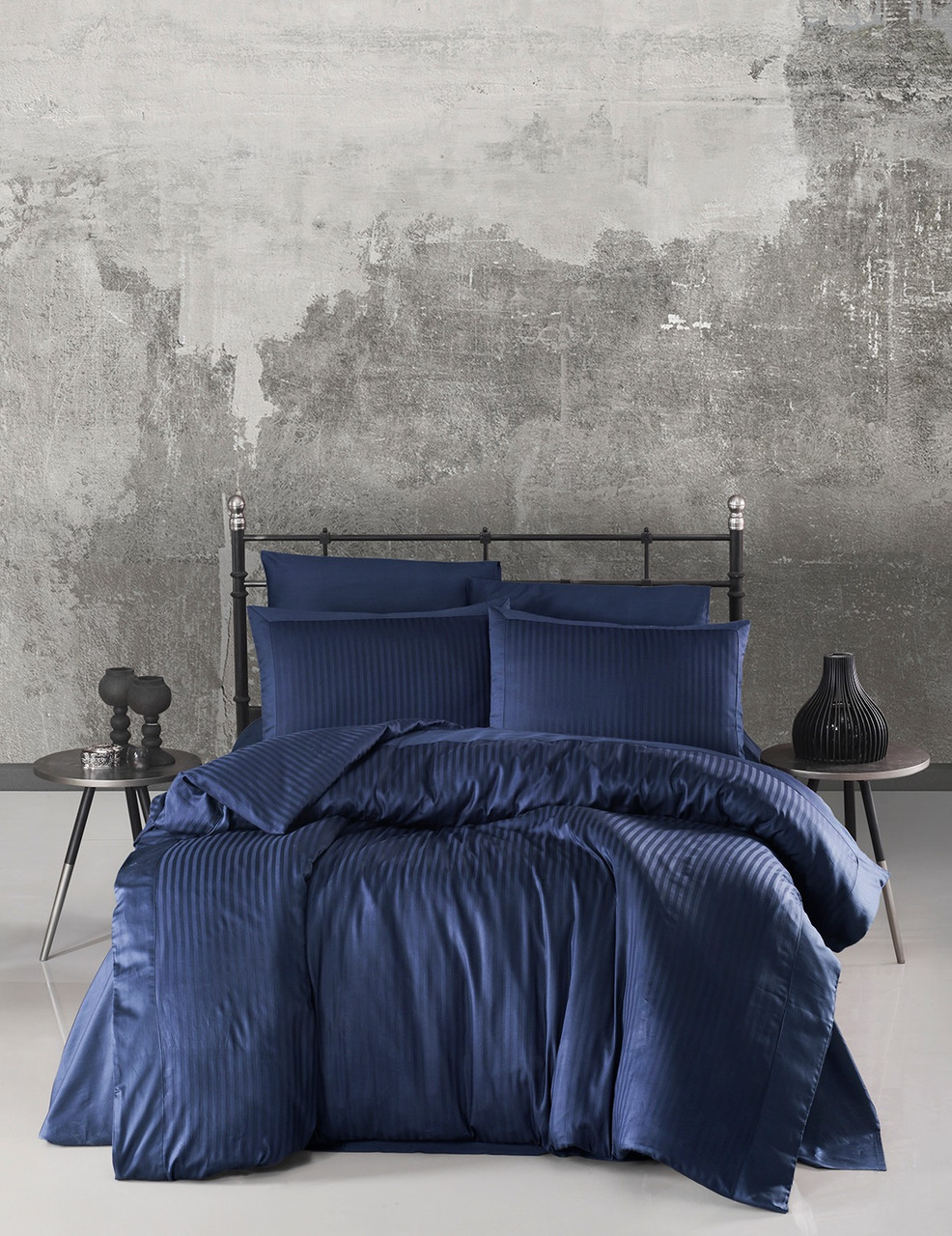 Комплект постельного белья Ecosse VIP сатин Stripe 200х220 синий