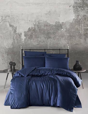 Комплект постельного белья Ecosse VIP сатин Stripe 200х220 синий, фото 2