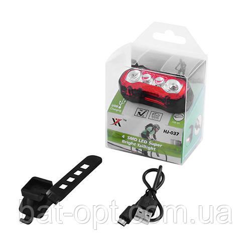 Фонарь велосипедный HJ-037-4SMD (встроен. аккум, ЗУ mirco USB, Waterproo)